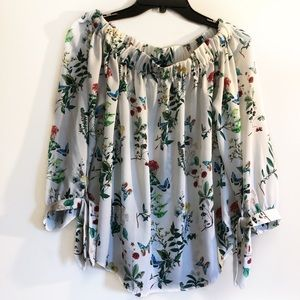 Express Floral Print Tie Sleeve Blouse